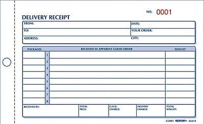 Rediform® Carbonless Delivery Receipt Books, 4-1/4
