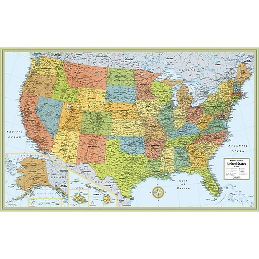 Rand McNally MSeries FullColor United States Wall Map Staples - Dry Erase Blank Us Map