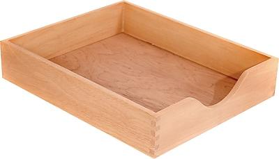 Carver Stackable Genuine Wood Desk Trays, Standard, Letter Size, Natural Finish