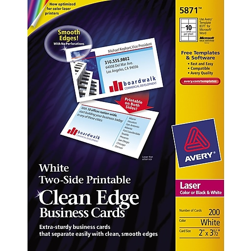 Avery Clean Edge Two Side Printable Laser Business Cards White