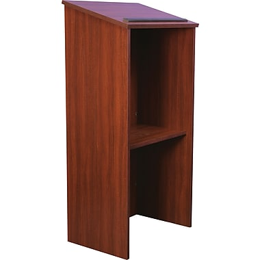 Amplivox One-Piece Full-Height Stand-Up Lectern Without Sound, Mahogany