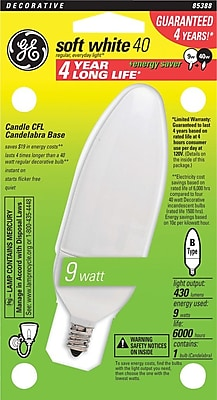 9 Watt, 120 Volt GE Candelabra Base CFL Bulb (Energy Star Approved)