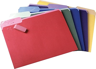 Pendaflex® Write and Erase File Folders, 3 Tab Positions, Letter Size, Assorted Colors, 30/Box (84370)