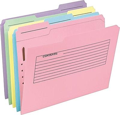 Pendaflex® Pre-Printed Fastener Folders, Letter Size, 3 Tab, Assorted Colors, 30/Pack (45270)
