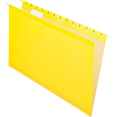 Pendaflex® Reinforced Hanging File Folders, 5 Tab Positions, Legal Size, Yellow, 25/Box (4153 1/5 YEL)