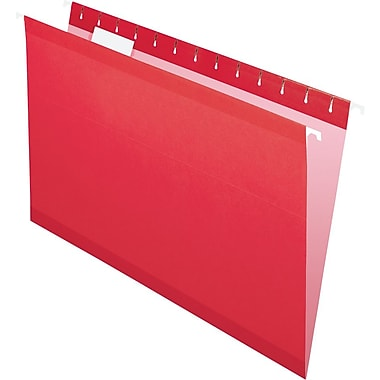 Pendaflex® Reinforced Hanging File Folders, 5 Tab Positions, Legal Size, Red, 25/Box (4153 1/5 RED)