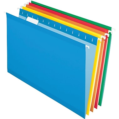 Pendaflex® Reinforced Hanging File Folders, 5 Tab Positions, Legal Size, Assorted Colors, 25/Box (4153 1/5 ASST)