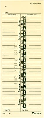 Adams 9656-200 Single-Sided Time Cards 3-3/8
