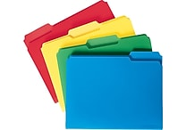 Staples Heavyweight Poly File Folders, Letter, Assorted, 24/Box