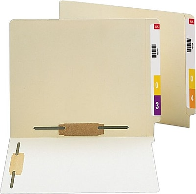 Staples® Manila End Tab Fastener Folders with 2 Reinforced Tabs in positions 3 and 5, Letter, 50/Box