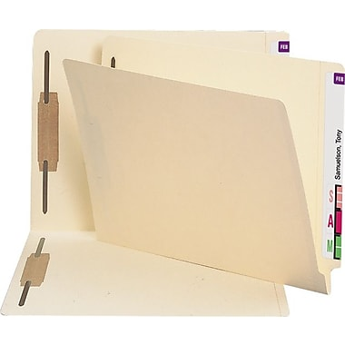 Staples Heavyweight Manila End-Tab Fastener Folders with 3 Reinforced Tabs in Positions 1 and 3, Letter, 50/Box