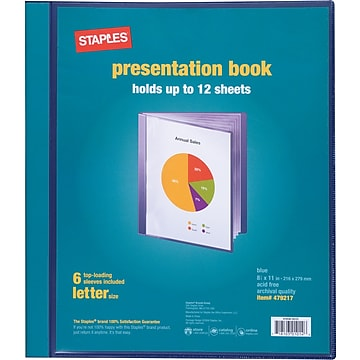 Staples® Presentation Binder, 6 Sleeve Capacity, Blue