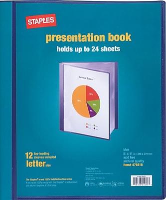 Staples Presentation Binder, 12 Sleeve Capacity, Blue (21619)