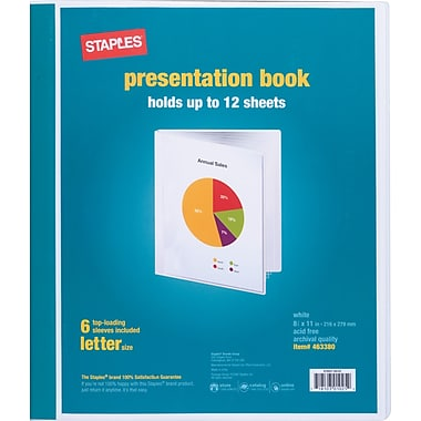 Staples Presentation Binder, 6 Sleeve Capacity, White (21626/21622)