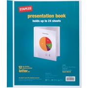Staples Presentation Binder, 12 Sleeve Capacity, White (21621)