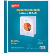 Staples® Presentation Binder, 24 Sleeve Capacity, White