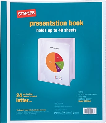 Staples® Presentation Binder, 24 Sleeve Capacity, White