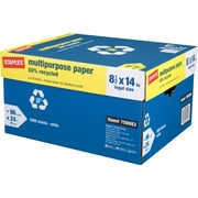 """Staples 50% Recycled Multipurpose Paper, 8 1/2"""" x 14"""", Case"""