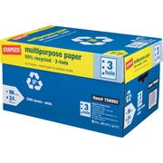 "Staples 50% Recycled Multipurpose Paper, 8 1/2"" x 11"", 3-Hole Punched, Case"