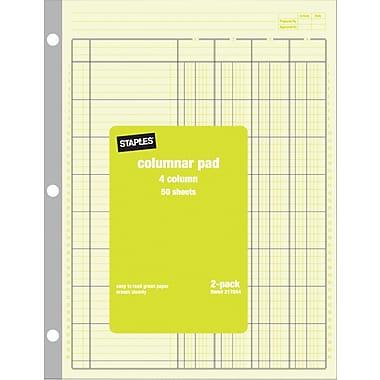 Staples® Columnar Pads, 4 Columns, 8-1/2