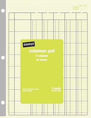 Staples® Columnar Pads, 5 Columns, 8-1/2