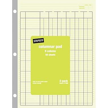 Staples® Columnar Pads, 6 Columns, 8-1/2
