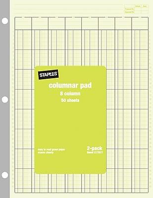 Staples® Columnar Pads, 8 Columns, 8-1/2