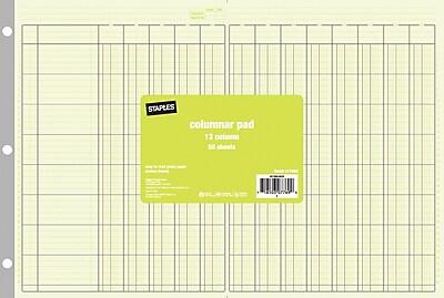 Staples® Columnar Pads, 13 Columns, 11