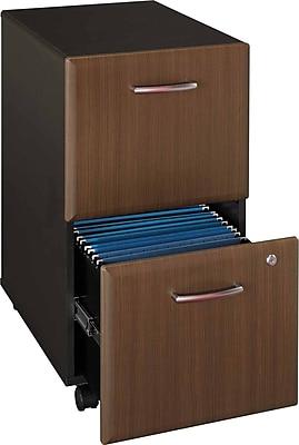 Bush Business Furniture Cubix 2 Drawer Mobile File Cabinet, Sienna Walnut (WC25552P)