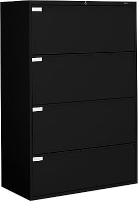 Global Business Plus 4 Drawer Lateral File, Black,Letter/Legal, 36''W (TD9336P4F1HBLK)