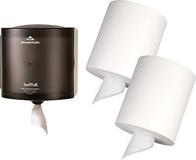 Georgia-Pacific® Sofpull® Center Pull Paper Towel Dispenser - 2 Rolls of Towels Included!