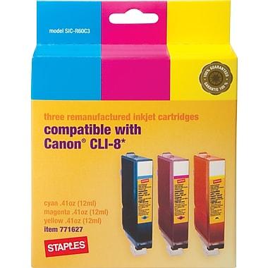 Staples® – Cartouches jet d'encre couleur remises à neuf, Canon CLI-8, paquet combiné (SIC-R60C3)
