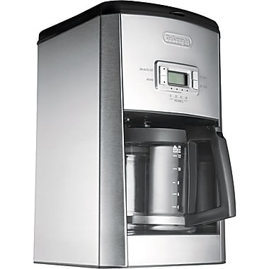 Delonghi Programmable 14 Cup Drip Coffee Brewer, Stainless Steel, Black / Silver
