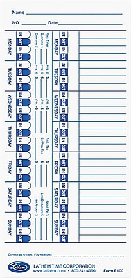 Lathem Universal Time Cards, E100, One-Sided, 4