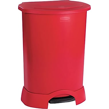 Rubbermaid Step-On Waste Containers, 30 Gallons, Red, 34 1/4