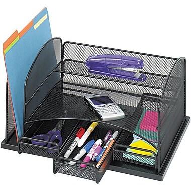 Safco® – Range-tout de bureau en mailles d'acier onyx à trois tiroirs, noir, 8 haut. x 15 7/8 larg. x 11 3/8 prof. (po)