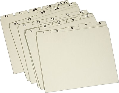 Staples Pressboard 1-31 Filing Guide, Letter Size