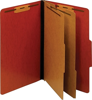 Staples® Colored Pressboard Classification Folders, 2/5 Cut Top Tab, 2 Partitions, 20/Box (PU64REDSB)