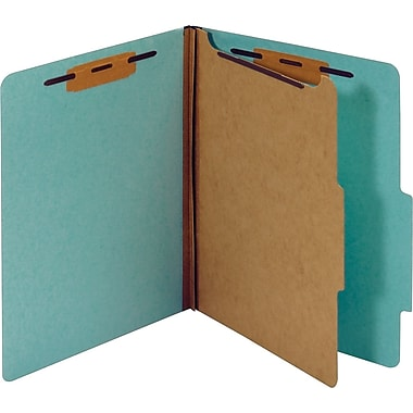 Staples® Colored Pressboard Classification Folders, 2/5 Cut Top Tab, 1 Partition, 20/Box (PU41LBLSB)
