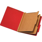 Staples® Brightly Colored Classification Folders, Red, 2/5-Cut Tabs, Letter Size, 2 Partitions, 5/Pack (98718S)