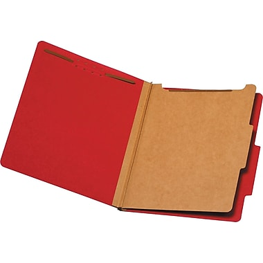 Staples® Brightly Colored Classification Folders, Letter, Red, 2/5-Cut Tabs, 1 Partition, 5/Pack (98518S)