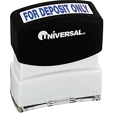 One-Color Message Stamp, For Deposit Only, Pre-Inked/Re-Inkable, Blue