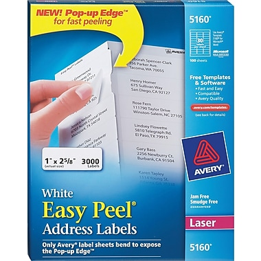 Avery white laser address labels with easy peel staples for Staples white mailing labels template