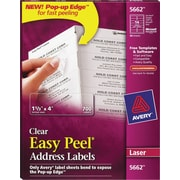 Avery clear laser address labels with easy peel staples for Staples white mailing labels template