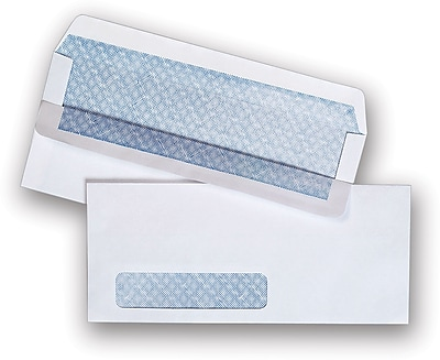 """Staples Self Seal Security Tinted Business Envelope, 4 1/8"""" x 9 1/2"""", White Wove, 500/Box (511290/99297)"""
