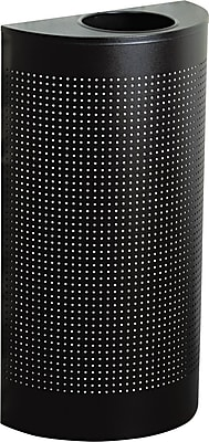 Rubbermaid® 12 gal Stainless Steel Designer Line Open Top Waste Receptacle, Black/Chrome (SO1220)