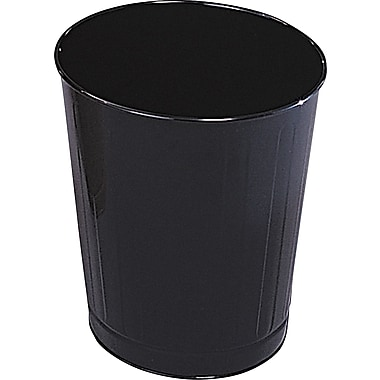 Rubbermaid® Fire-Safe Steel Round Wastebasket, 6 1/2 Gallon, Black, 14 1/2