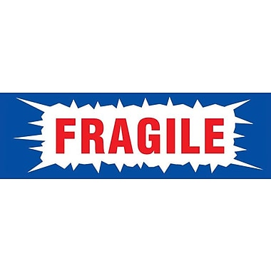 Étiquettes de manutention « Fragile », 3 po x 1 po, 500/rouleau