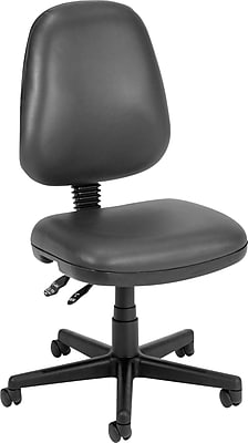OFM Anti Bacterial Vinyl Computer and Desk Office Chair, Armless, Charcoal (119-VAM-604)
