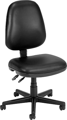 OFM Faux Leather Computer and Desk Office Chair, Armless, Black (811588012664)